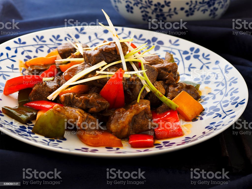 beef and pepper stir-fry stock photo