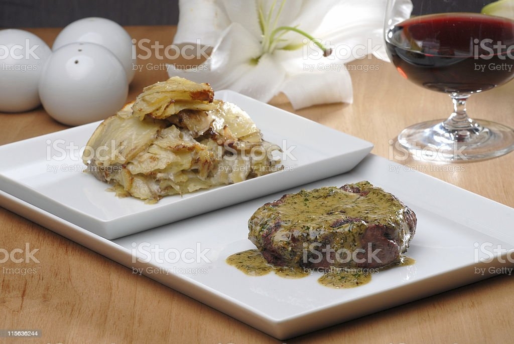 Beef and potato serving stock photo