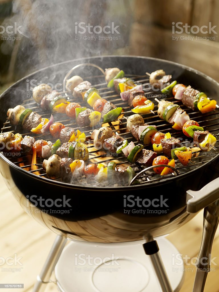 Beef and Vegetable Kabobs on a Charcoal BBQ royalty-free stock photo