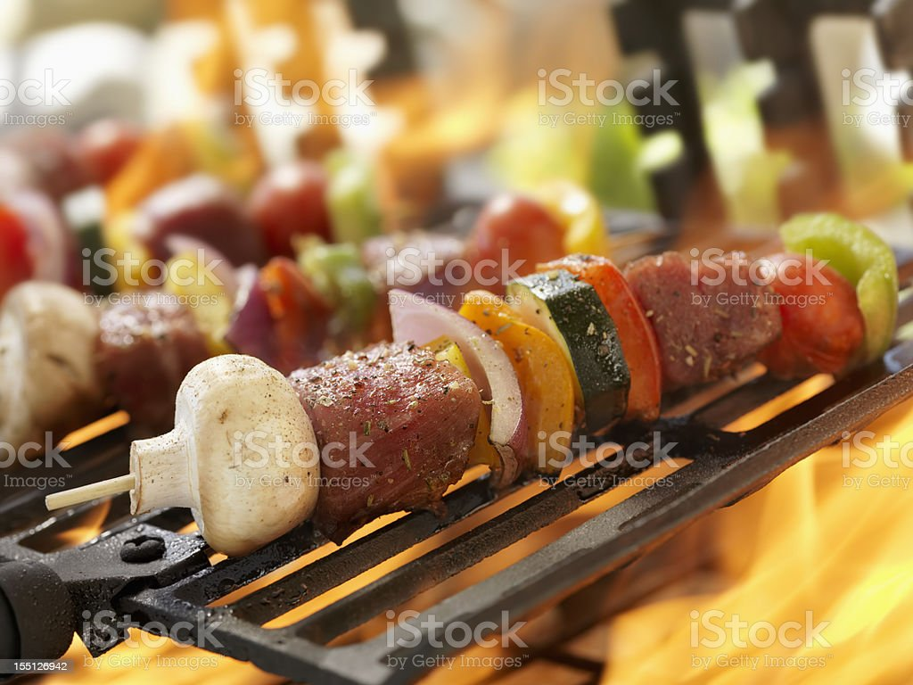 Beef and Vegetable Kabobs on a Outdoor BBQ royalty-free stock photo