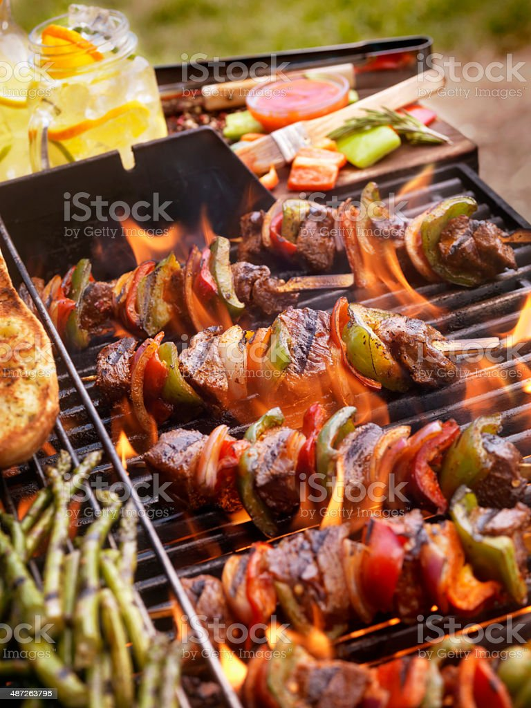 Beef and Vegetable Kabobs on the BBQ stock photo
