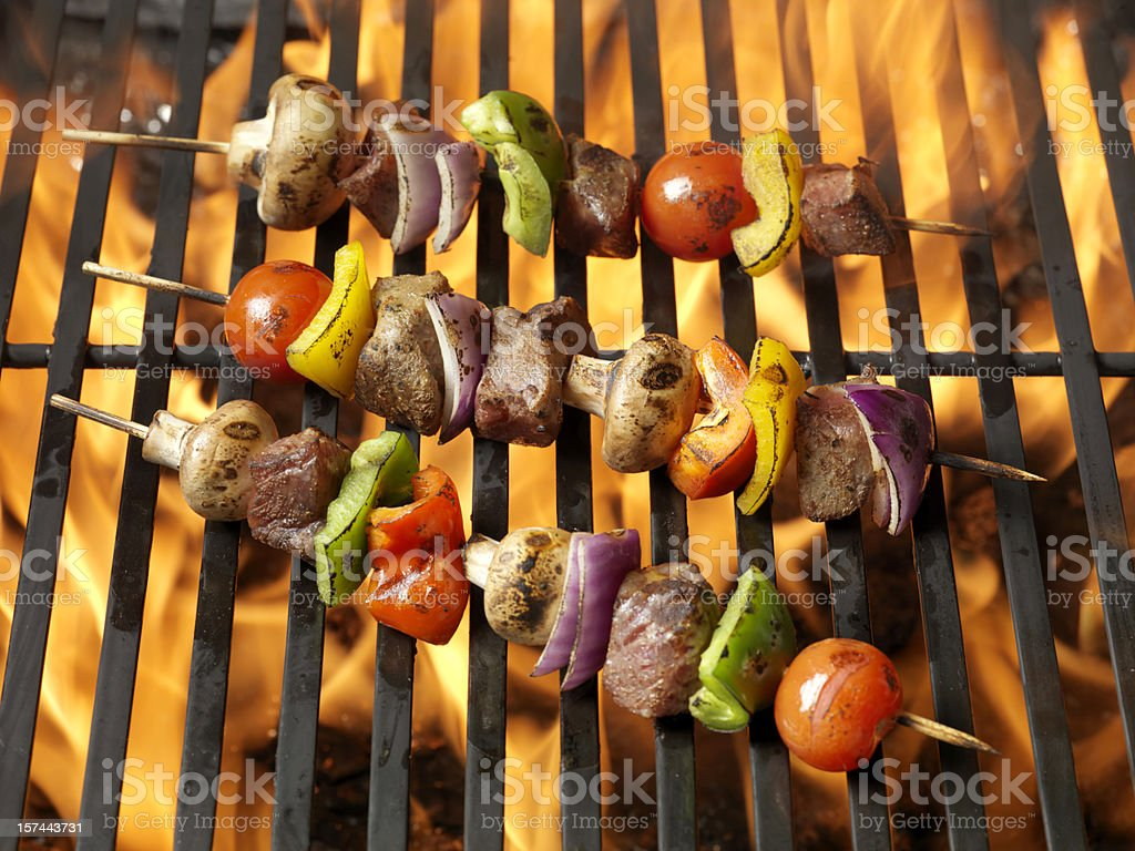 BBQ Beef and Vegetable Kabobs stock photo