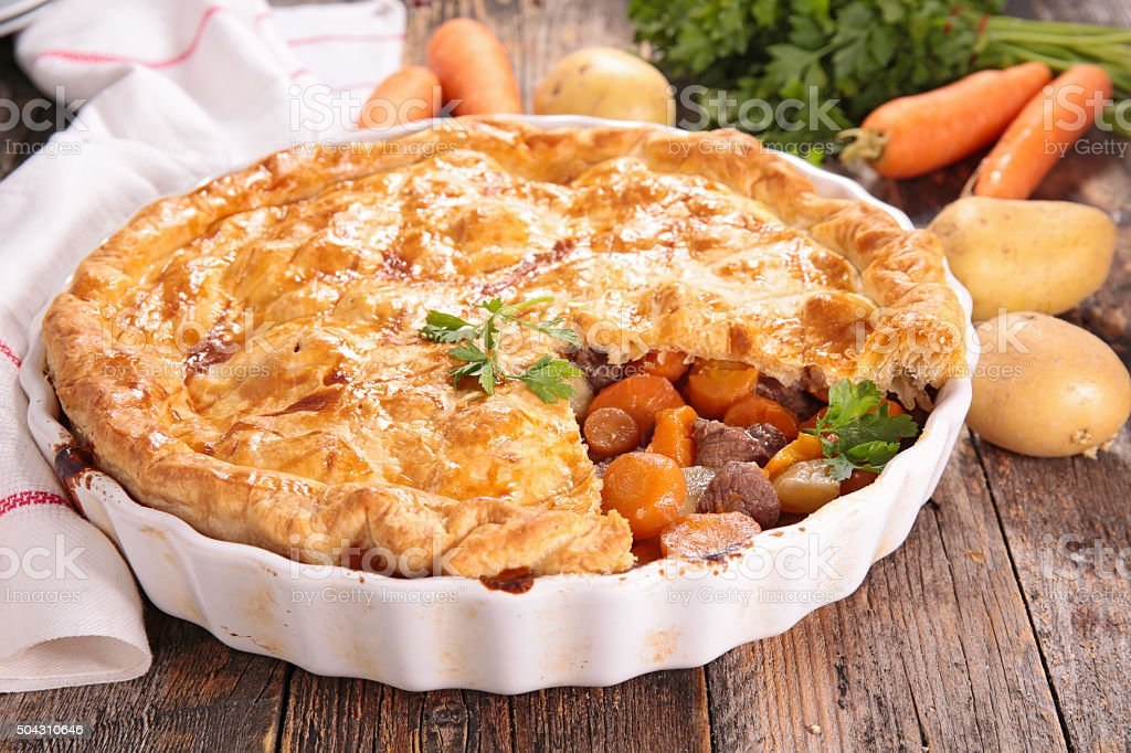 beef and vegetable pie stock photo