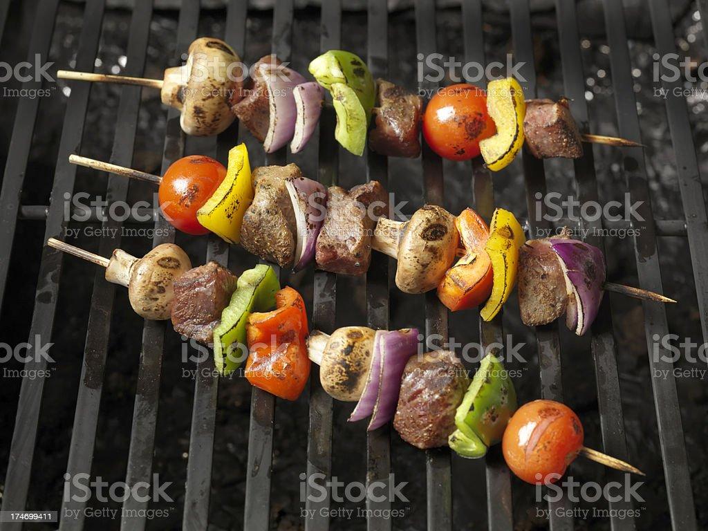 Beef and Vegetable Skewers stock photo