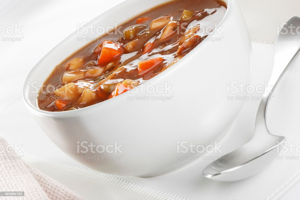 Beef and vegetables soup stock photo