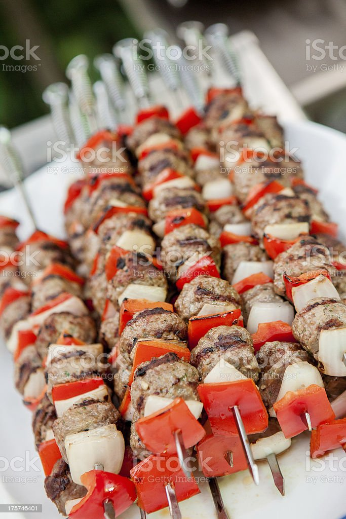 Beef Barbecued on skewers royalty-free stock photo