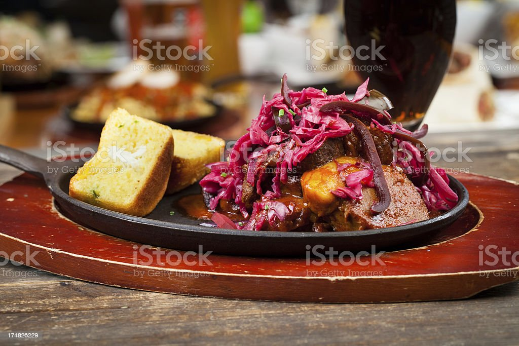 Beef brisket on skillet royalty-free stock photo