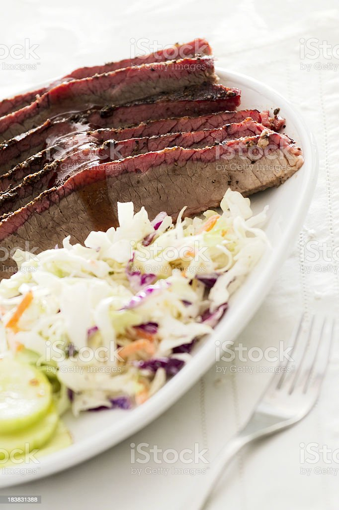 Beef Brisket with Coleslaw stock photo