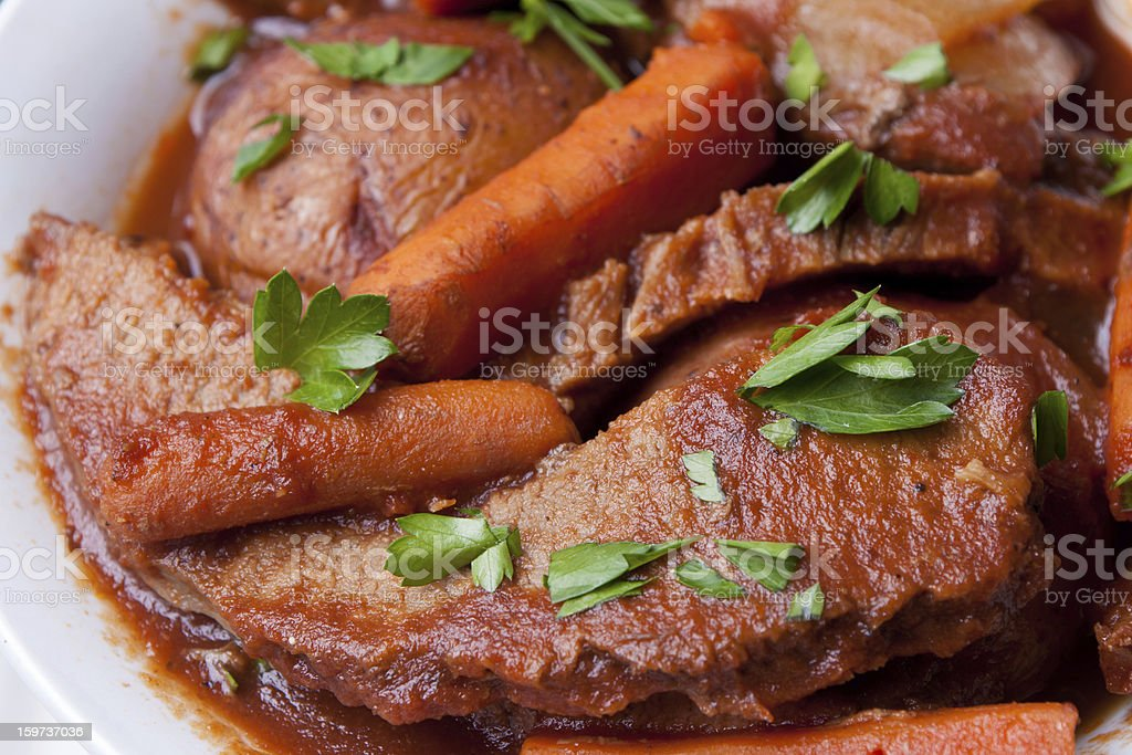 Beef Brisket with Vegetables and Country Bread stock photo
