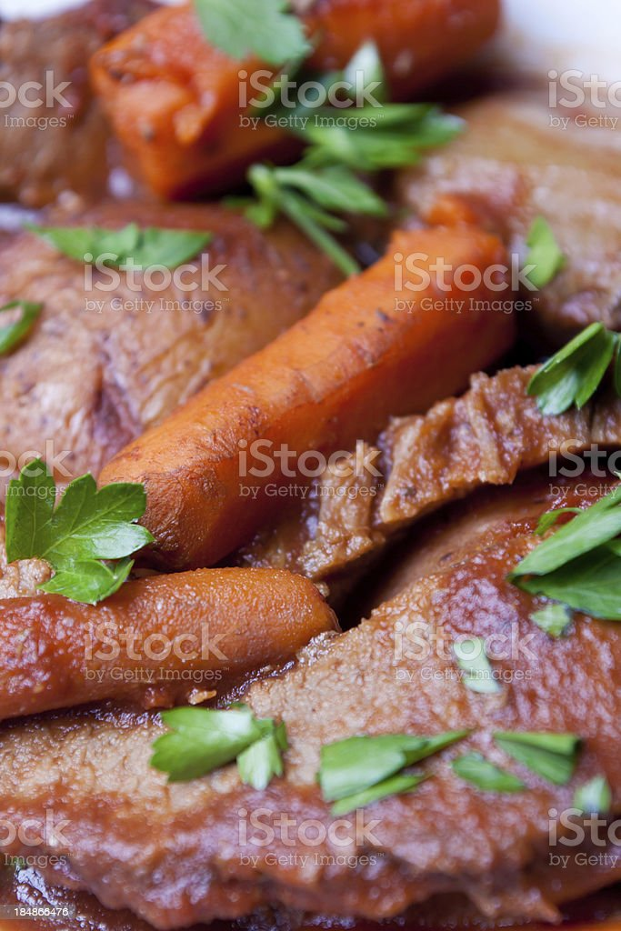 Beef Brisket with Vegetables and Country Bread royalty-free stock photo