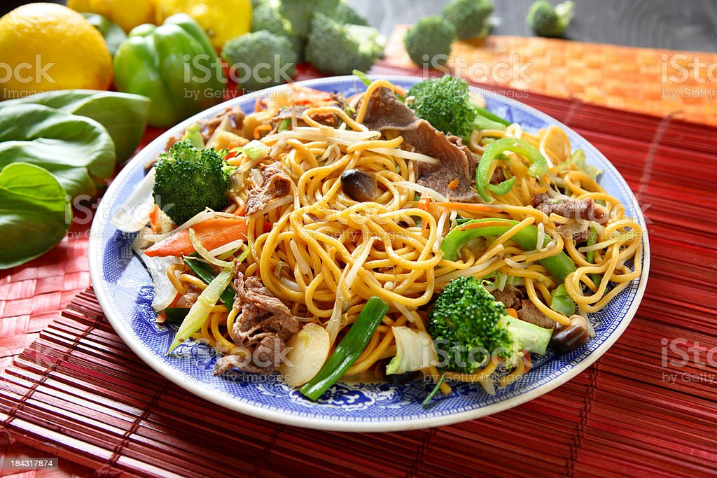 Beef broccoli Chow Mein royalty-free stock photo