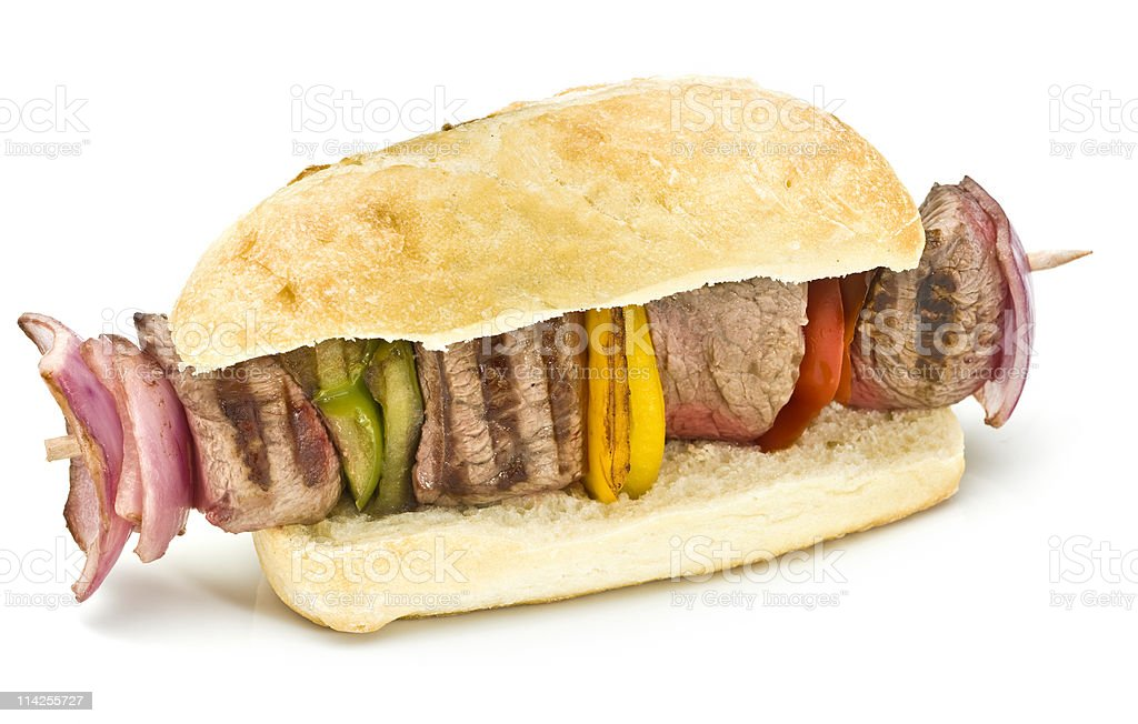 Beef Brochette Sandwich royalty-free stock photo