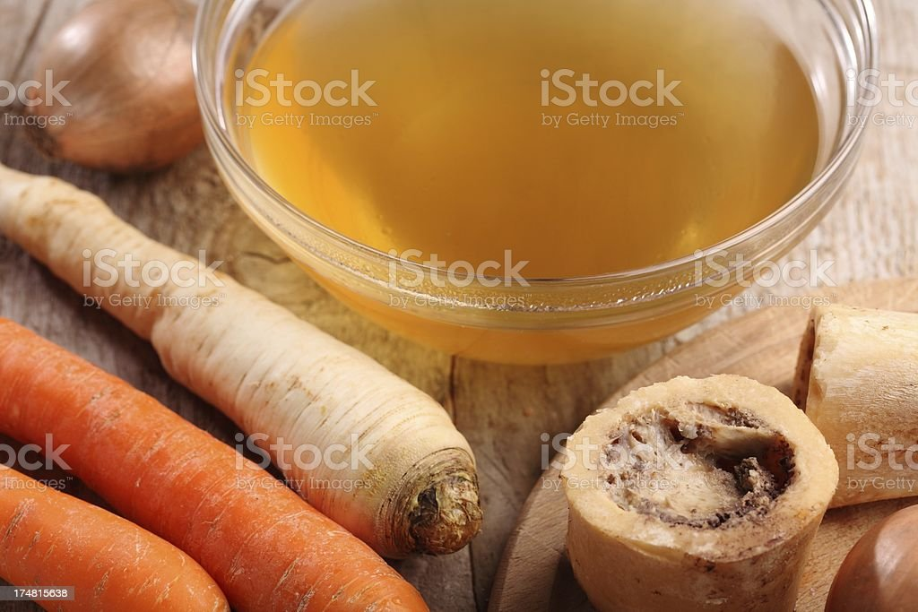 Beef broth and vegetables stock photo