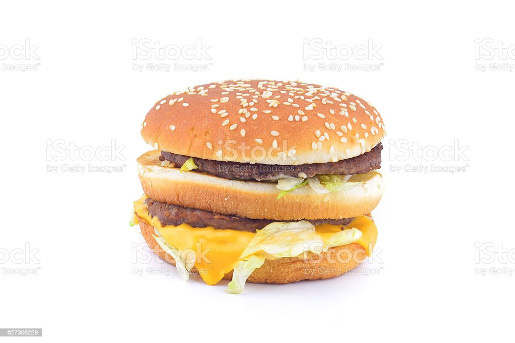 Beef Burger isolated on white background stock photo