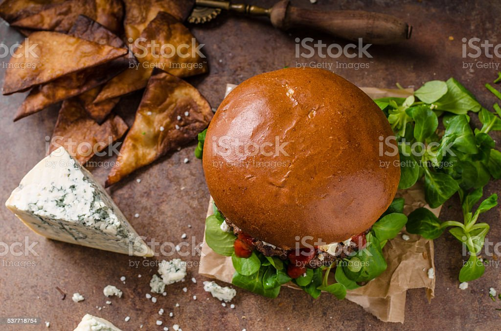 Beef burger with blue cheese stock photo