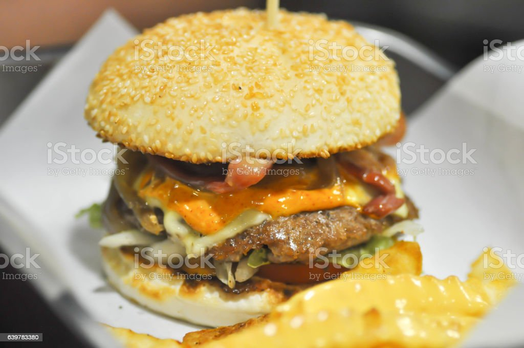 beef burger with cheese , sesame stock photo