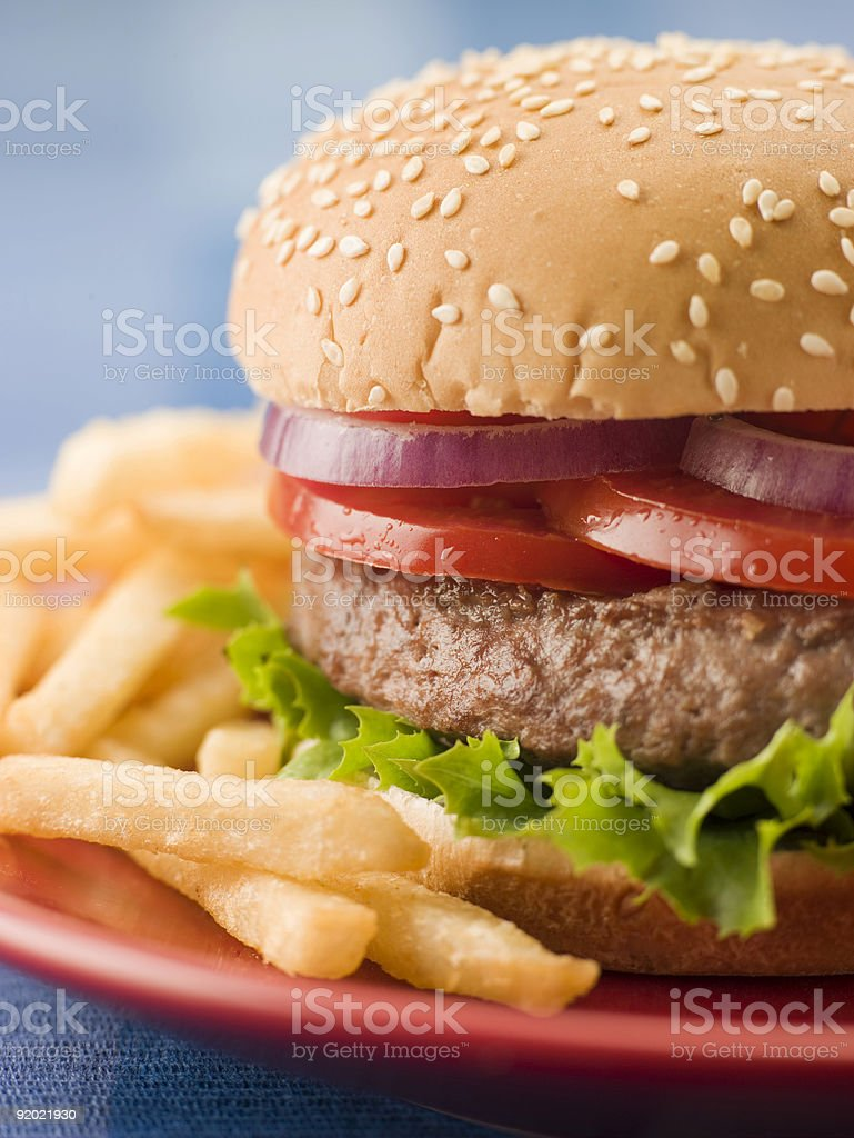Beef Burger with Fries royalty-free stock photo