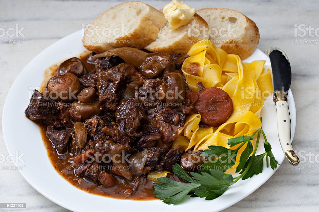 Boeuf Bourguignon Meal stock photo