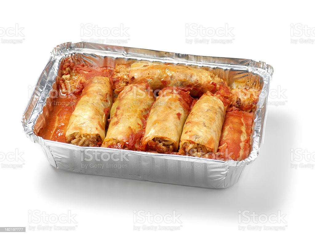Beef Cabbage Rolls in Baking Tin stock photo