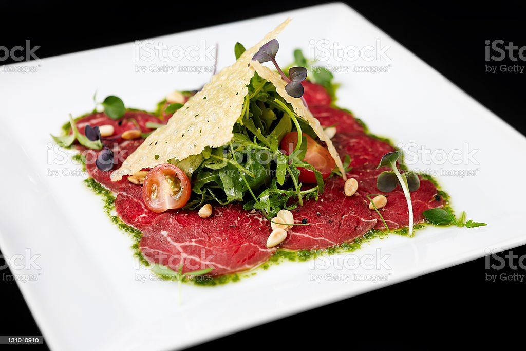 Beef carpaccio stock photo