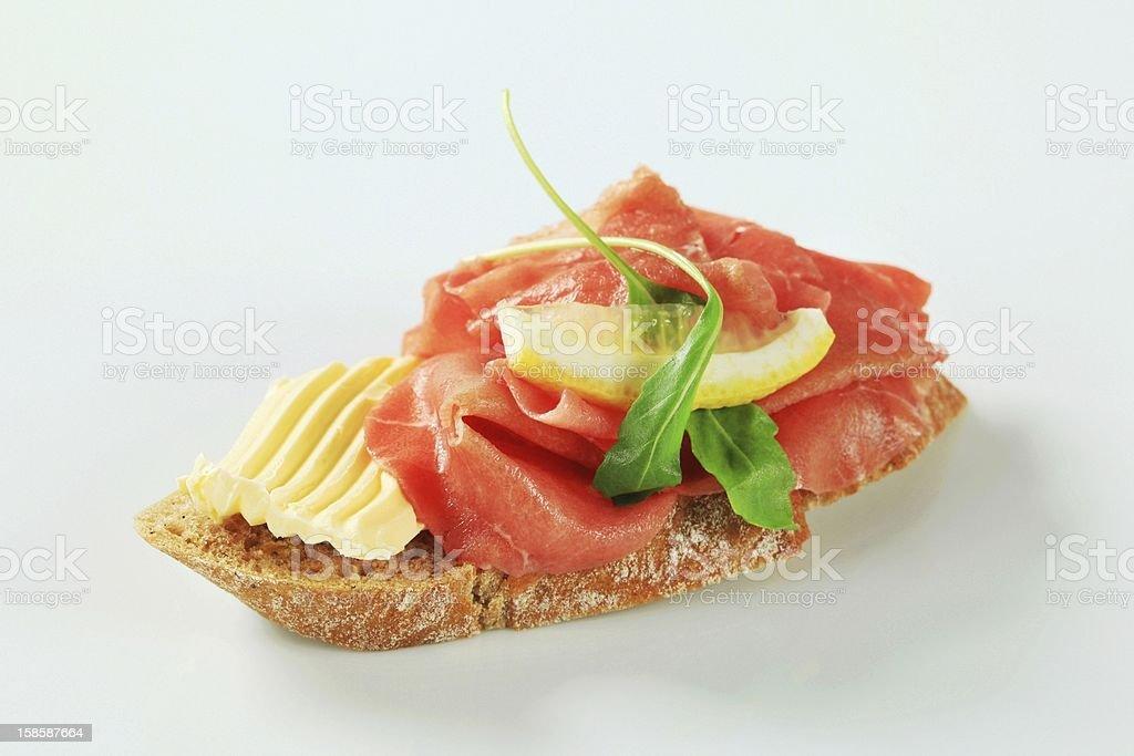 Beef Carpaccio sandwich royalty-free stock photo