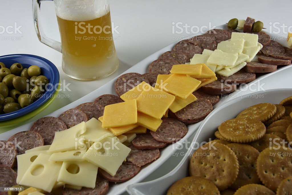 Beef Cheese and Microbrew royalty-free stock photo