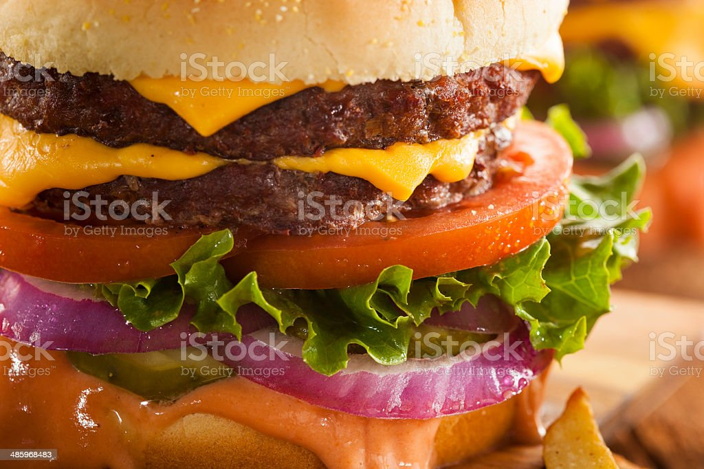 Beef Cheese Hamburger with Lettuce Tomato royalty-free stock photo