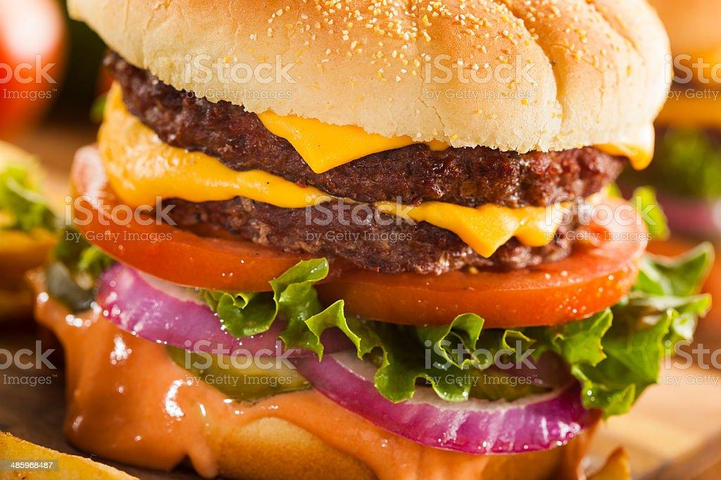 Beef Cheese Hamburger with Lettuce Tomato stock photo