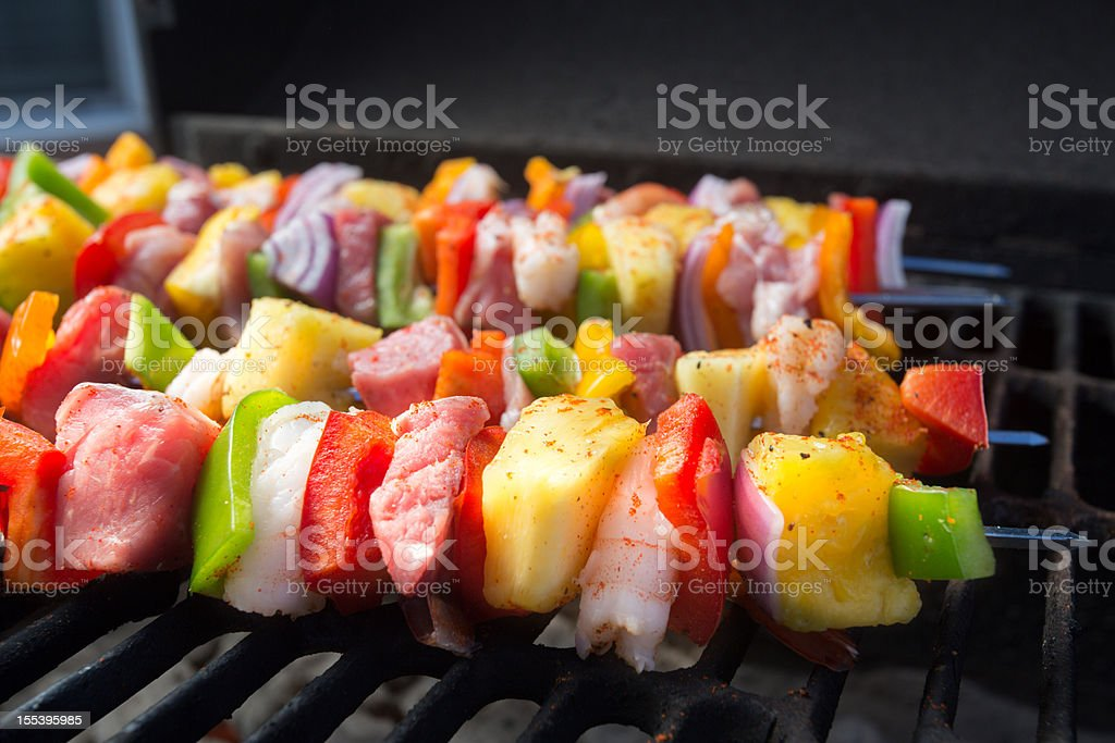 Beef, Chicken and Shrimp Kebabs royalty-free stock photo