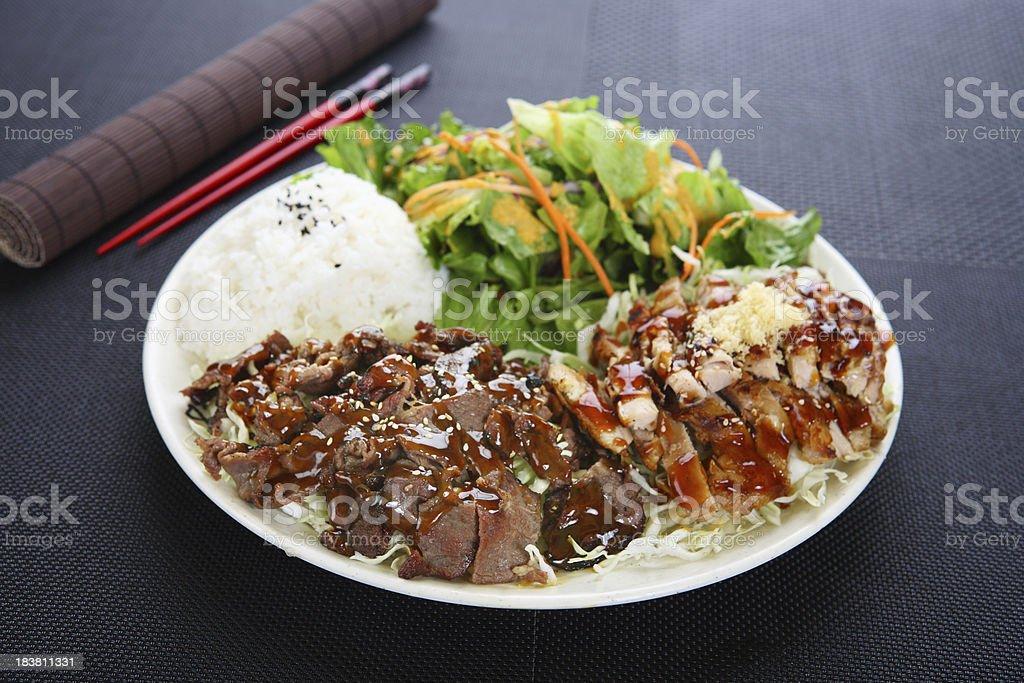 BBQ Beef & Chicken Teriyaki stock photo
