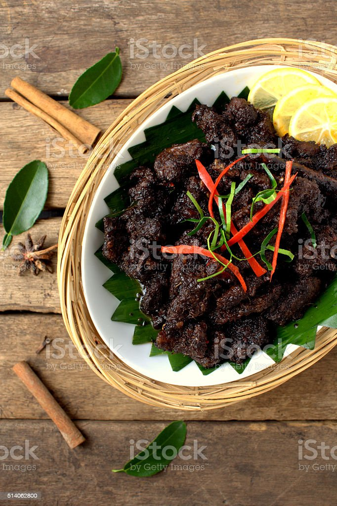 Beef cooked with spices and soya sauce stock photo