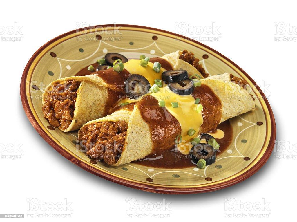 Beef Enchiladas, isolated on white stock photo