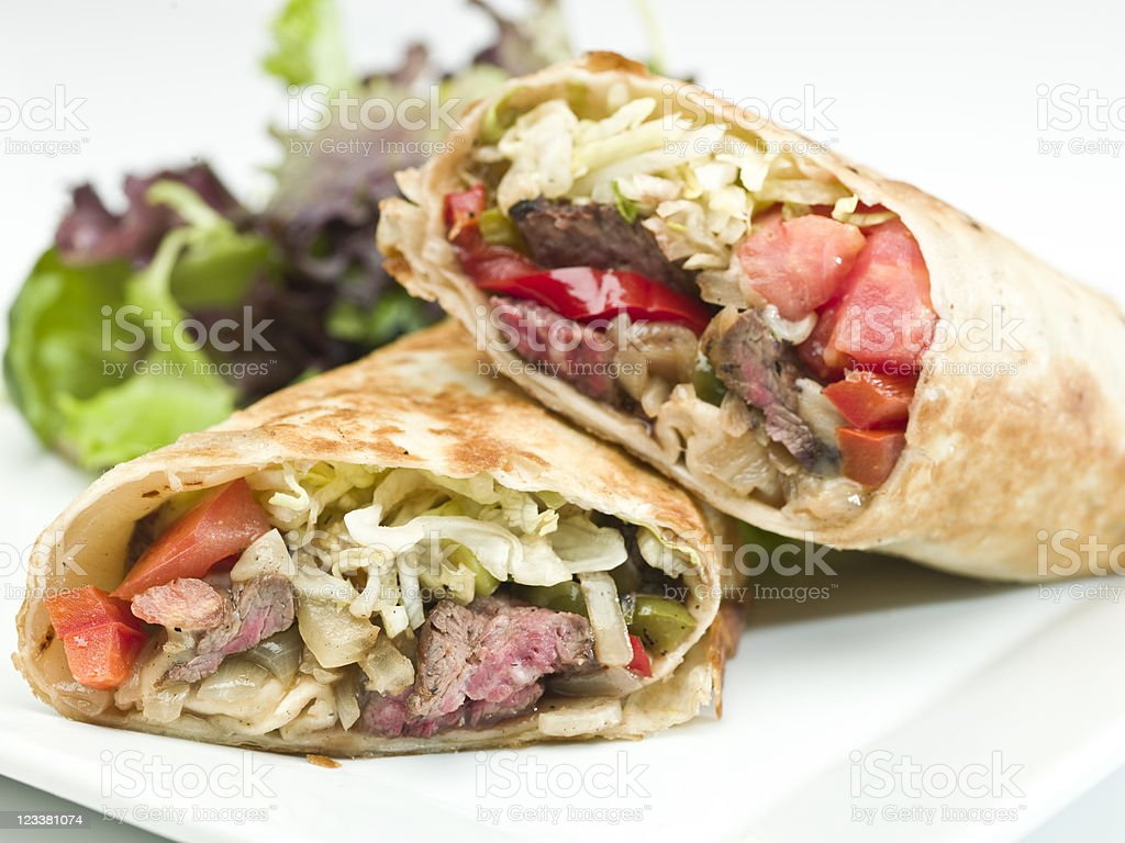 Beef Fajita and vegetables wrap sandwich stock photo