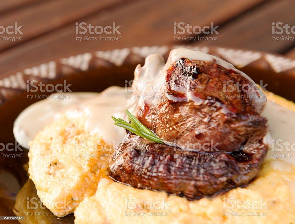 Beef Fillet on Polenta stock photo
