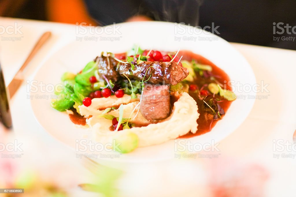 Beef fillet prepared to perfection stock photo