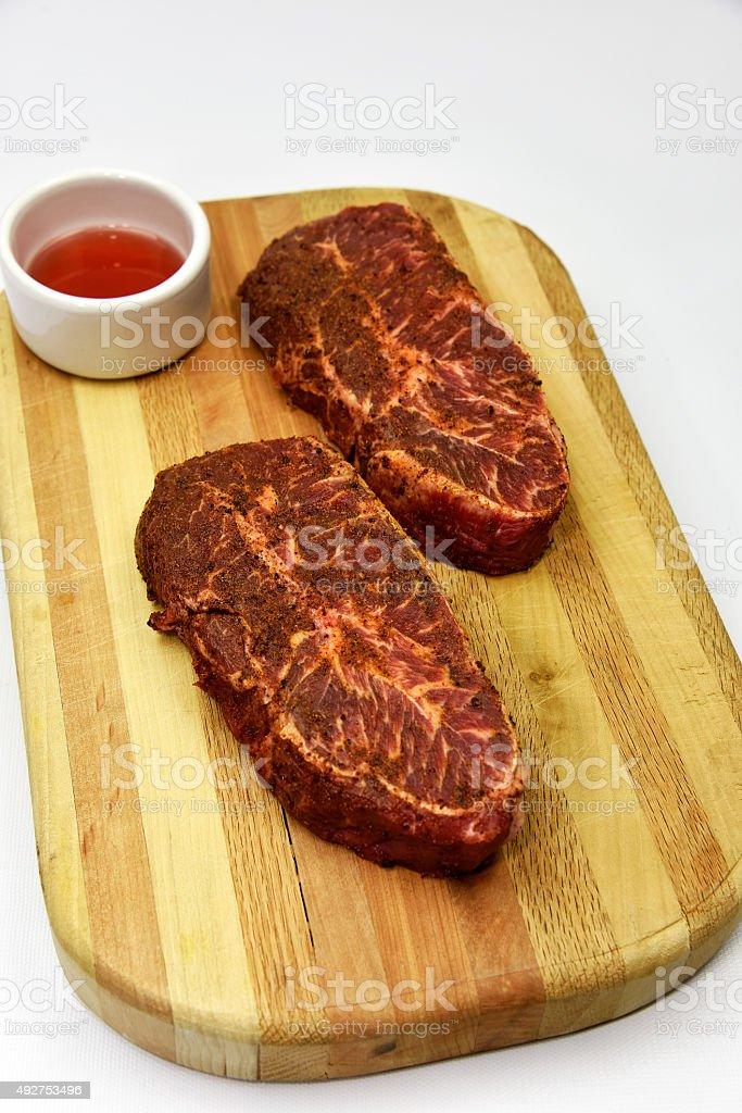 Beef Flat Iron Steak stock photo