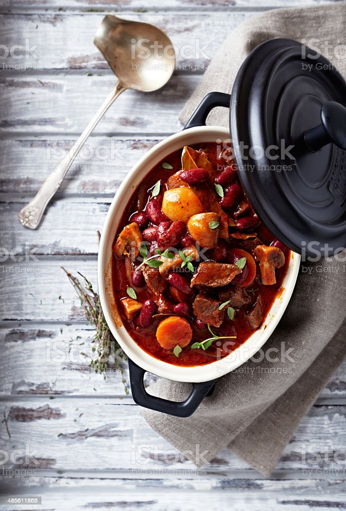Beef goulash with mushrooms and vegetables stock photo