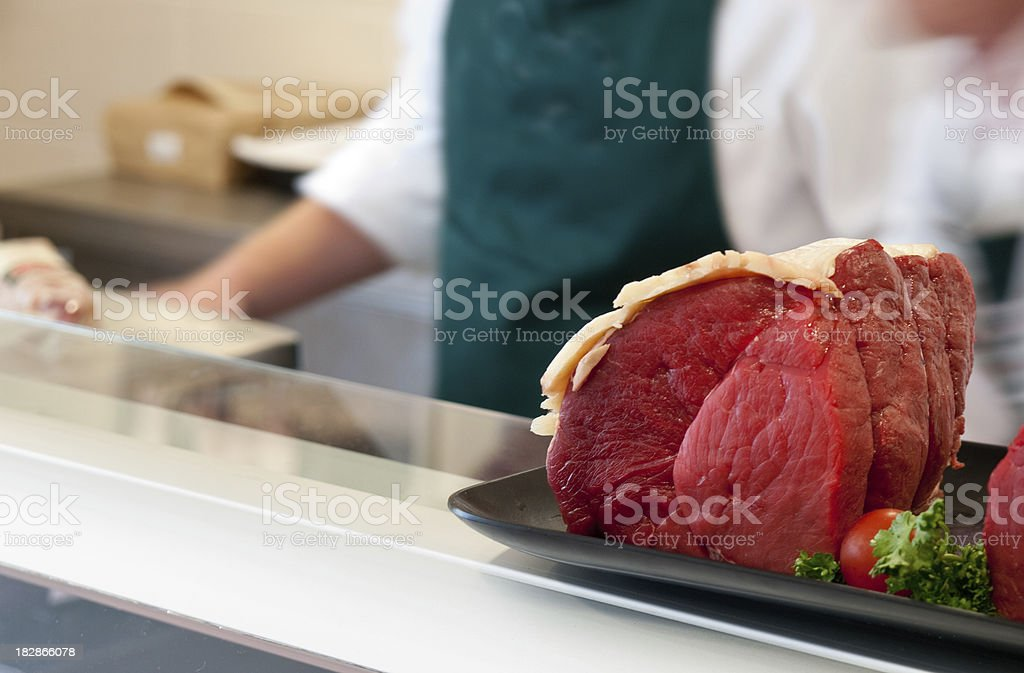 Beef in a butchers shop royalty-free stock photo