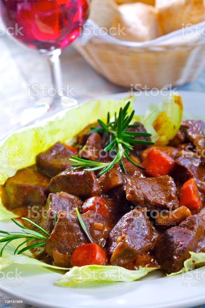 Beef in red wine sauce royalty-free stock photo