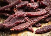 Beef Jerky on a cutting board