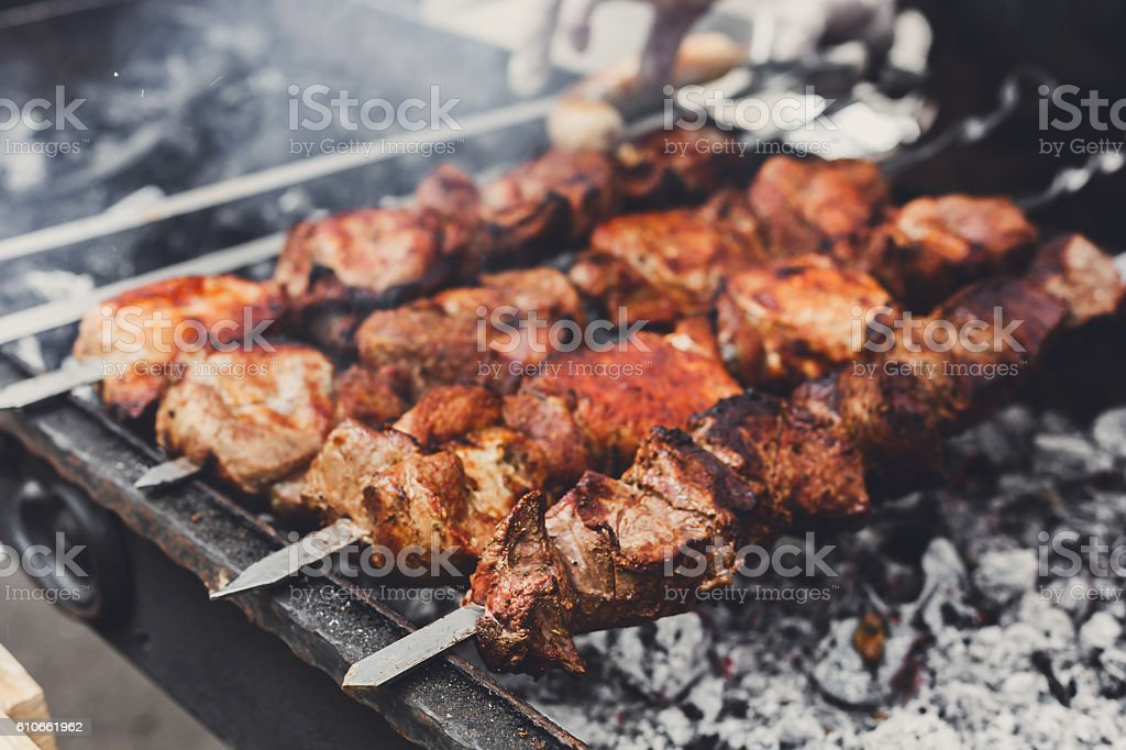 Beef kebab. Fresh meat at grill, bbq stock photo