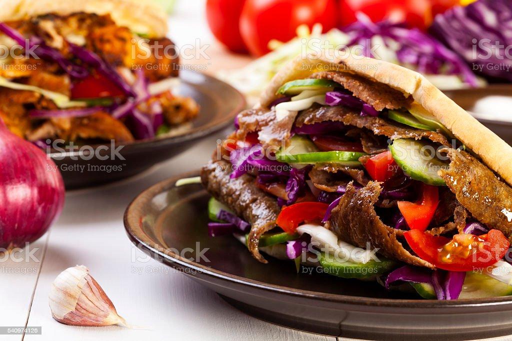 Beef Kebab in a bun stock photo