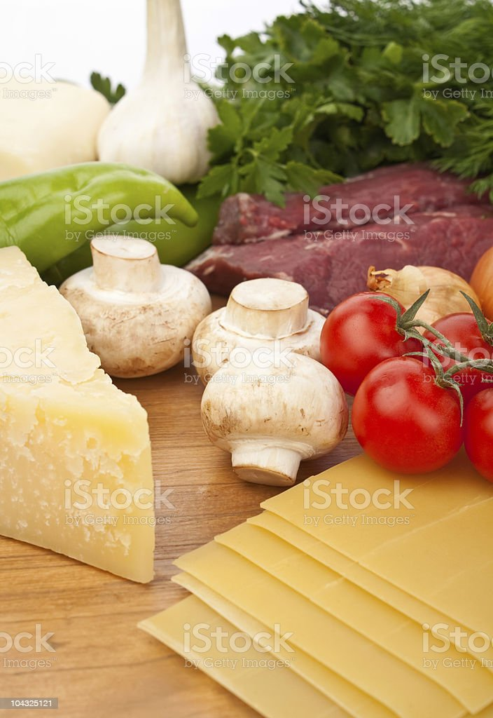 beef lasagna ingredients royalty-free stock photo