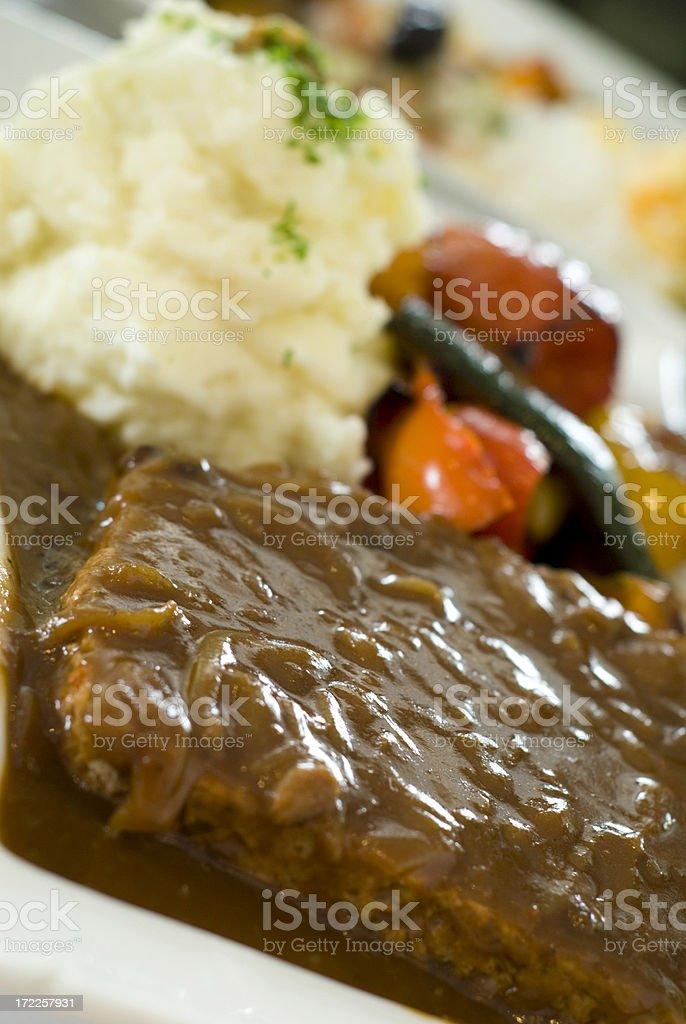 Beef Meat Loaf Dinner & Gravy, Diner Food, Vegetables & Mashed Potatoes royalty-free stock photo