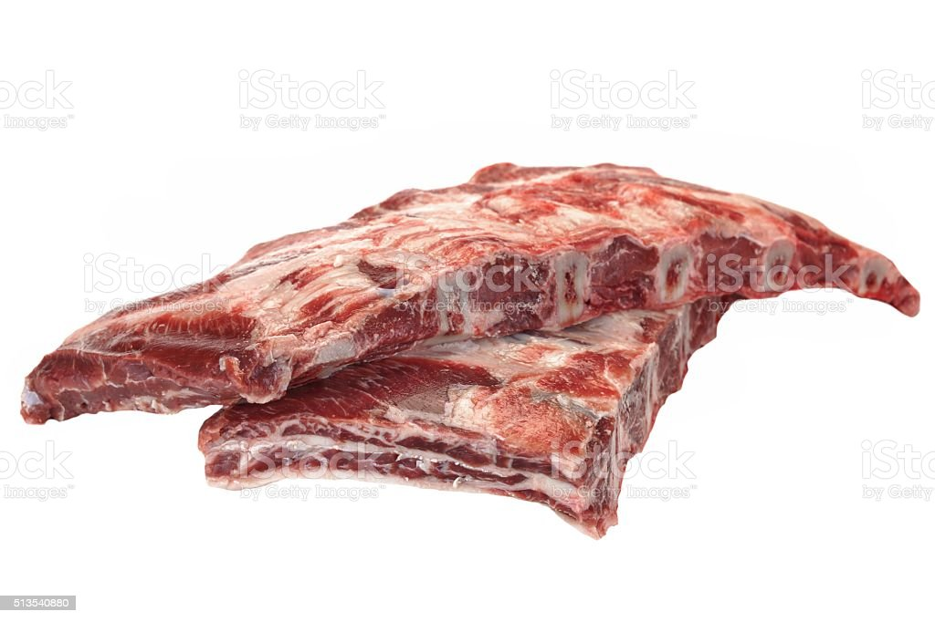 Beef Meat. Raw Black Angus Marbled Beef Ribs Isolated stock photo