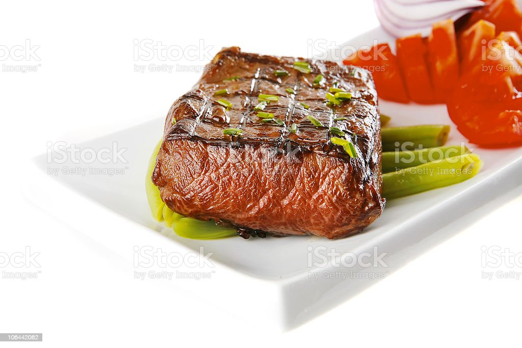beef meat served on white royalty-free stock photo