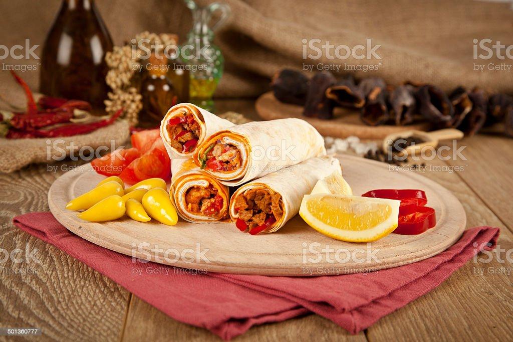 Beef meat Tantuni traditional turkish kebap durum lavash royalty-free stock photo