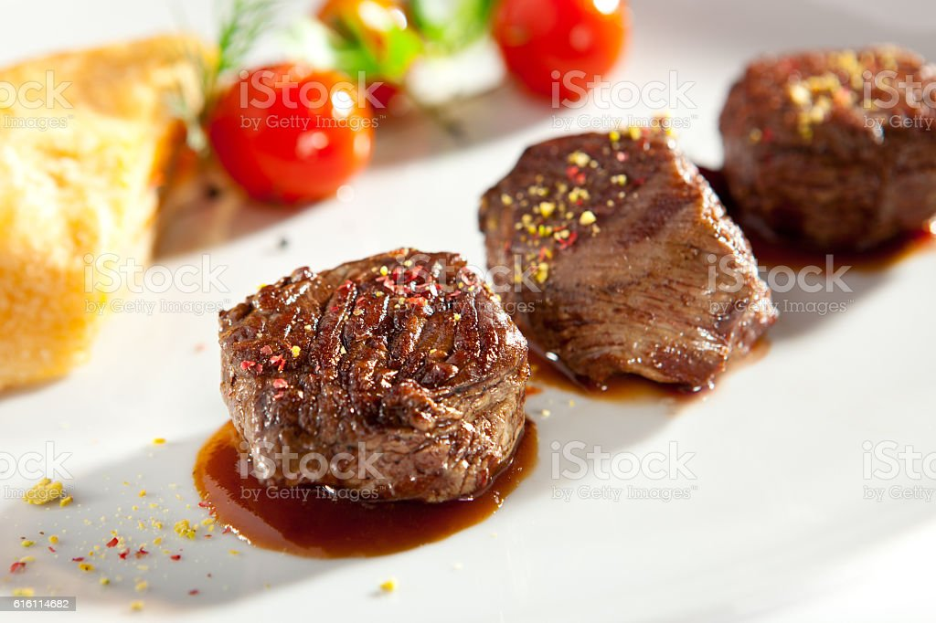 Beef Medallions with Vegetable stock photo
