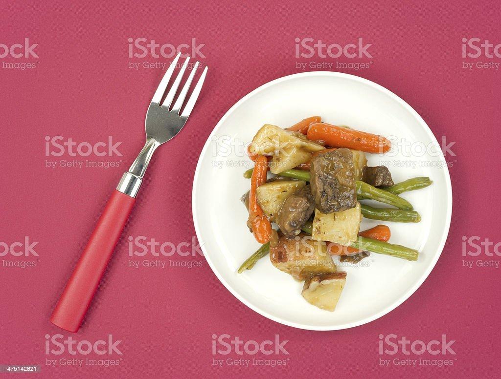 Beef Merlot TV dinner royalty-free stock photo