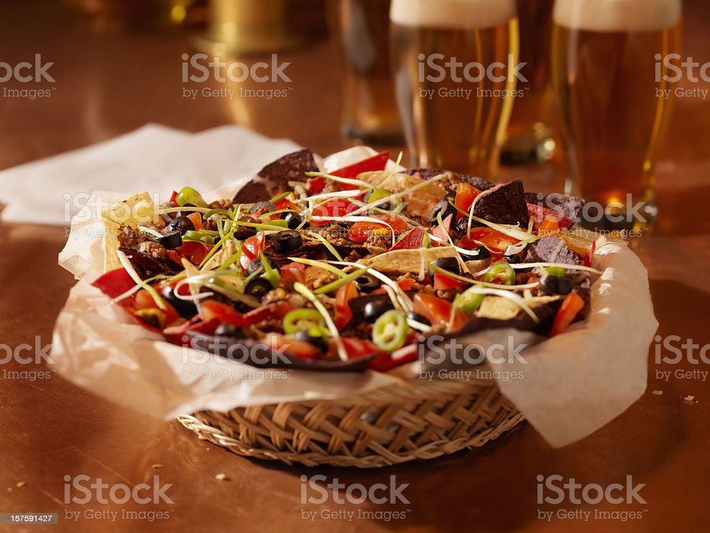 Beef Nachos and Beers stock photo
